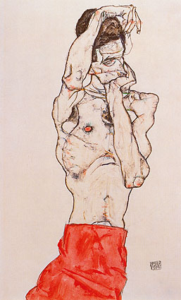 Egon Schiele, Standing Male Nude with Red Loincloth | Stehender mannlicher Akt mit rotem Lendentuch, 1914, oil on canvas, 18.9 x 12.6 in. / 48 x 32 cm, US$240