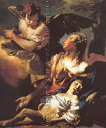 Giambattista Tiepolo, Hagar and Ishmael | Apparition of the Angel to Hagar & Ishmael | The Angel Succouring Hagar, 1732, oil on canvas, 32 x 26.9 in. / 81.3 x 68.4 cm, US$410
