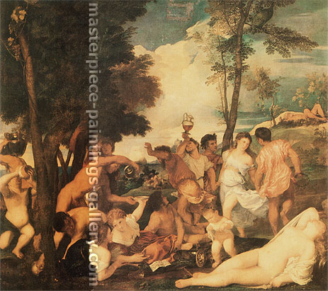 Titian | Tiziano Vecellio, The Andrians, 1523-25, oil on canvas, 36.6 x 32.5 in. / 93 x 82.5 cm, US$400