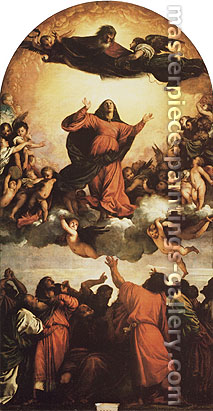 Titian | Tiziano Vecellio, The Assumption of the Virgin, 1516-18, oil on canvas, 54.3 x 28.4 in. / 137.9 x 72 cm, US$550