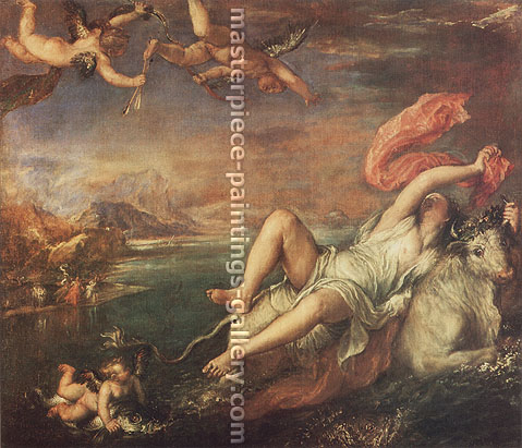 Titian | Tiziano Vecellio, The Rape of Europa, 1559-62, oil on canvas, 49 x 56.4 in. / 124.5 x 143.1 cm, US$570