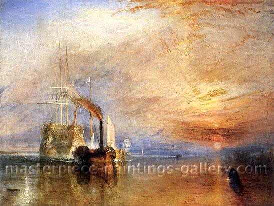 JMW Turner, The Fighting Temeraire tugged to her last berth to be broken up, 1838, oil on canvas, 48 x 35.8 in. / 91 x 122 cm, US$400