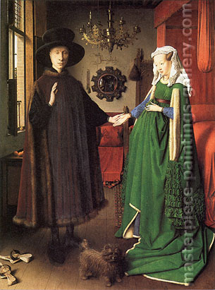 Jan van Eyck, The Arnolfini Portrait | Giovanni Arnolfini and His Wife Giovanna Cenami | The Arnolfini Marriage | Portrait of Giovanni Arnolfini and his Wife, 1434, oil on canvas, 32.4 x 23.6 in. / 82.2 x 60 cm, US$600