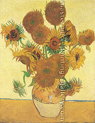Vincent van Gogh, Fourteen Sunflowers in a Vase | Still Life: Vase with Fourteen Sunflowers (JH 1562), 1888, oil on canvas, 36.6 x 28.7 in. / 93 x 73 cm, US$375