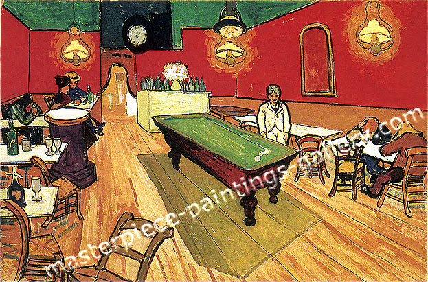 Vincent van Gogh,  All Night Cafe, 1888, oil on canvas, 27.6 x 35 in / 70 x 89 cm, $330