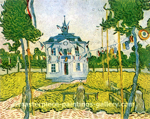 Vincent van Gogh, Auvers Town Hall, 1890, oil on canvas, 28.3 x 36.6 in. / 72 x 93 cm, US$525