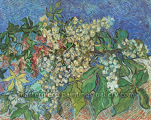 Vincent van Gogh, Blossoming Chestnut Branches,1890, oil on canvas, 28.3 x 35.8 in. / 72 x 91 cm, US$350