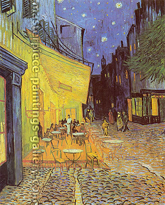 Vincent van Gogh painting Cafe Terrace at Night or Terrasse des Cafes in the Place du Forum, 1888, oil on canvas, 32 x 25.9 in / 81.3 x 65.7 cm, US$280