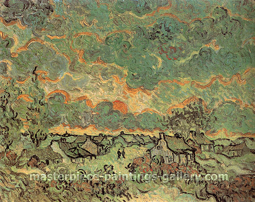 Vincent van Gogh, Cottages and Cypresses: Reminiscence of the North, 1890, 22.8 x 28.4 in. / 58 x 73 cm, US$300