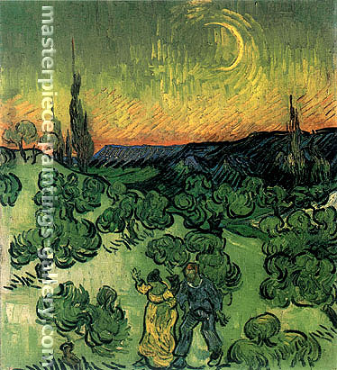 Vincent van Gogh, Landscape with Couple Walking and Crescent Moon, 1890, oil on canvas, 19.5 x 17.9 in. / 49.5 x 45.5 cm, US$330