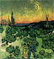 Vincent van Gogh, Landscape with Couple Walking and Crescent Moon, 1890, oil on canvas, 19.5 x 17.9 in. / 49.5 x 45.5 cm, US$260