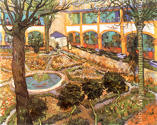Vincent van Gogh, The Courtyard of the Hospital at Arles, 1889, oil on canvas, 28.7 x 36.2 in. / 73 x 92 cm, US$360
