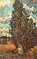 Vincent van Gogh, Cypresses and Two Women, 1890, oil on canvas, 34.3 x 20.5 in. / 87 x 52 cm, US$300
