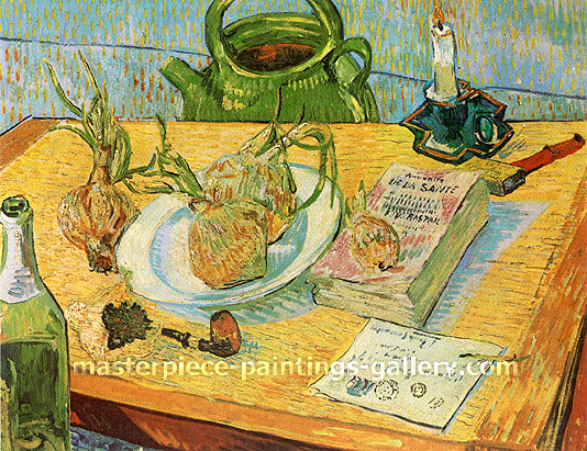 Vincent van Gogh, Still Life: Drawing Board, Pipe, Onions and Sealing-Wax (JH 1656), 1889, oil on canvas, 19.7 x 25.2 in. / 50 x 64 cm, US$375