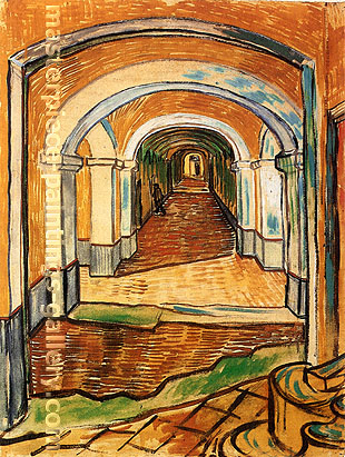 Vincent van Gogh, The Entrance Hall of Saint-Paul Hospital, 1889, oil on canvas, 24 x 18.7 in. / 61 x 47.5 cm, US$300