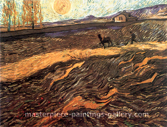 Vincent van Gogh, Enclosed Field with Ploughman, 1889, oil on canvas, 19.3 x 24.4 in. / 49 x 62 cm, US$360