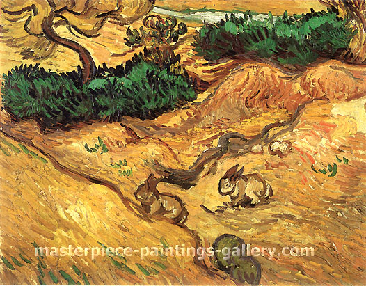 Vincent van Gogh, Field with Two Rabbits, 1889, oil on canvas, 12.8 x 15.9 in. / 32.5 x 40.5 cm, US$265
