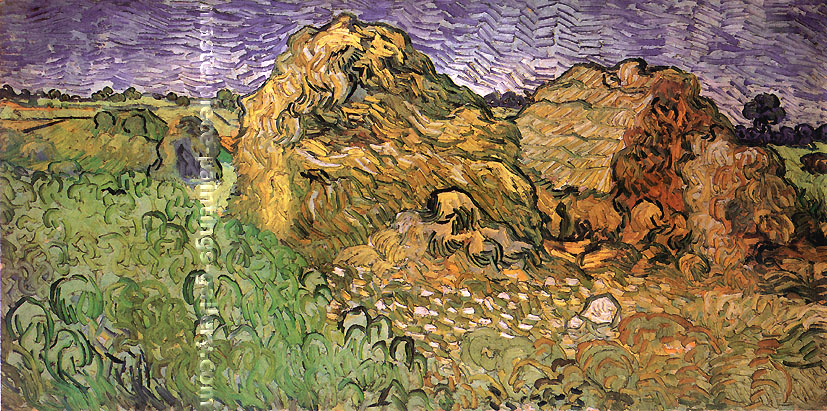 Vincent van Gogh, Field with Wheat Stacks, July 1890, oil on canvas, 19.7 x 39.4 in. / 50 x 100 cm, US$350