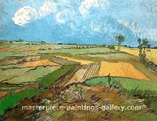 Vincent van Gogh, Wheat Fields at Auvers under Clouded Sky, 1890, oil on canvas,  28.7 x 36.2 in. / 73 x 92 cm, US$340