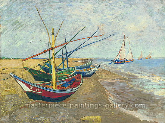 Vincent Van Gogh, Fishing Boats on the Beach at Saintes-Maries, 1888, oil on canvas, 25.6 x 32.1 in. /  65 x 81.5  cm, US$320