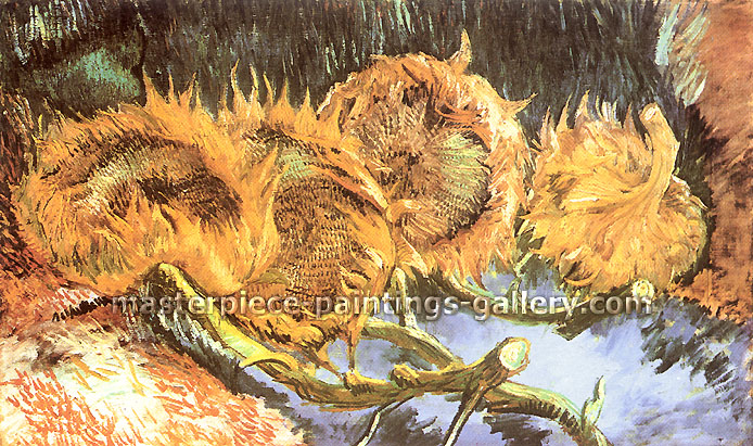 Vincent van Gogh, Four Cut Sunflowers, 1887, oil on canvas, 23.6 x 39.4 in. / 60 x 100 cm, US$330