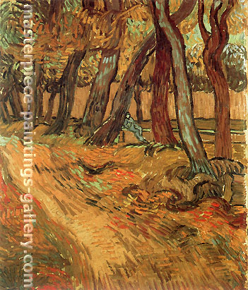 Vincent van Gogh, The Garden of Saint-Paul Hospital with Figure, 1889, oil on canvas, 25.2 x 19.7 in. / 64 x 50 cm, US$360