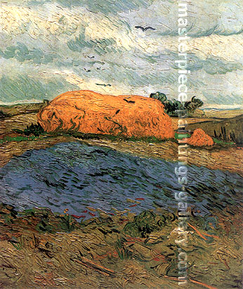 Vincent van Gogh, Haystacks under a Rainy Sky, 1890, oil on canvas, 25.2 x 20.7 in. / 64 x 52.5 cm, US$306