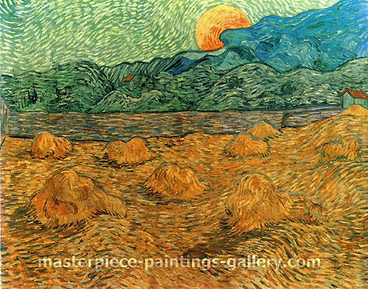 Vincent van Gogh, Evening Landscape with Rising Moon, 1889,  (JH 1761) oil on canvas, 28.3 x 36.2 in. / 72 x 92 cm, US$550