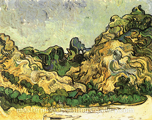 Vincent van Gogh, Mountains at Saint-Remy with Dark Cottage, 1889, oil on canvas, 28.3 x 35.7 in. / 71.8 x 90.8 cm, US$550
