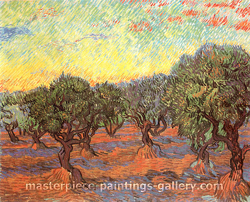 Vincent van Gogh, Olive Grove: Orange Sky, 1889, oil on canvas, 29.1 x 36.6 in. / 74 x 93 cm, US$560