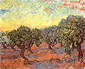 Vincent van Gogh, Olive Grove: Orange Sky, 1889, oil on canvas, 29.1 x 36.6 in. / 74 x 93 cm, US$260