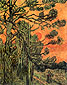 Vincent van Gogh, Pine Trees against a Red Sky with Setting Sun, 1889, oil on canvas, 36.2 x 28.7 in. / 92 x 73 cm, US$260