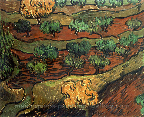 Vincent van Gogh, Olive Trees against a Slope of a Hill, 1889, oil on canvas, 13.2 x 15.7 in. / 33.5 x 40 cm, US$245