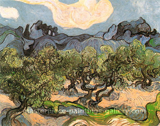 Vincent van Gogh, Olive Trees with Alpilles in the Background, 1889, oil on canvas, 28.5 x 36.2 in. / 72.5 x 92 cm, US$530