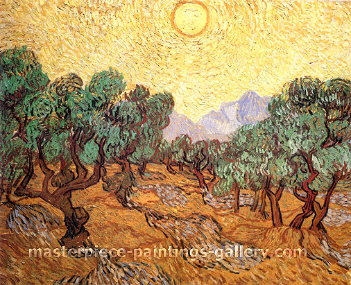 Vincent van Gogh, Olive Trees with Yellow Sky and Sun, 1889, (JH 1856) oil on canvas, 28.8 x 36.5 in. / 73.2 x 92.7 cm, US$600