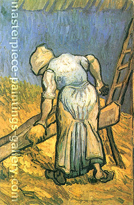 Vincent van Gogh, Peasant Woman Cutting Straw (after Millet), 1889, oil on canvas,19.9 x 10.4 in. / 40.5 x 26.5 cm, US$300