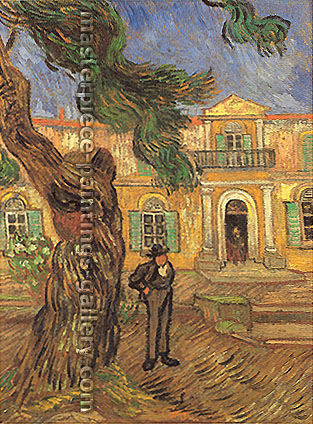 Vincent van Gogh, Pine Trees with Figure in the Garden of Saint Paul Hospital, 1889, (JH 1840) oil on canvas, 22.8 x 17.7 in. / 58 x 45 cm, US$320