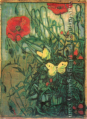 Vincent van Gogh, Poppies and Butterflies | Poppies with Butterflies, 1890, (JH 2013) oil on canvas, 13.6 x 10 in. / 34.5 x 25.5 cm, US$320