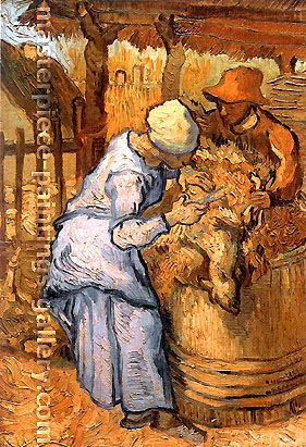 Vincent van Gogh, The Sheep-Shearers (after Millet), 1889, oil on canvas, 17.1 x 11.6 in. / 43.5 x 29.5 cm, US$300