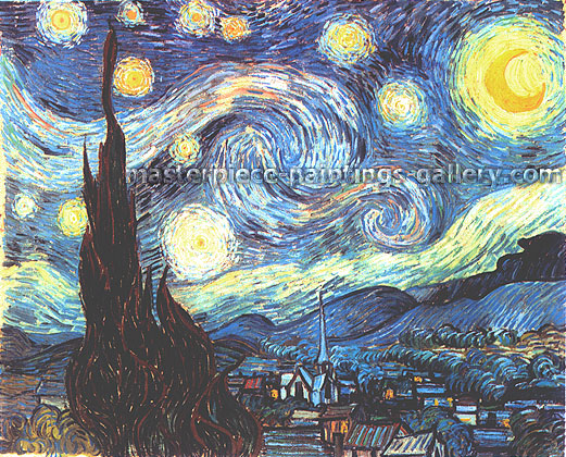 Vincent van Gogh, Starry Night | Starlit Night | Cypresses & Village, 1889, (JH 1731) oil on canvas, 28.8 x 36.3 in. / 73.2 x 92.1 cm, US$600