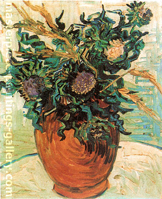 Vincent van Gogh, Still Life:Vase with Flower and Thistles, 1890, oil on canvas, 16.1 x 12.6 in. / 41 x 32 cm, US$300