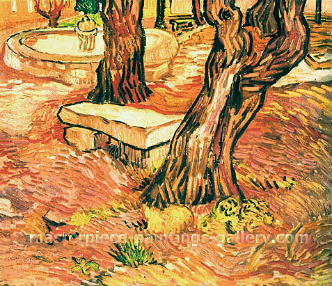 Vincent van Gogh, The Stone Bench in the Garden of Saint-Paul Hospital, 1889, oil on canvas, 15.4 x 18.1 in. / 39 x 46 cm, US$300