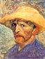 Vincent van Gogh, Self-Portrait with Straw Hat, Paris, Summer, 1887, oil on canvas, 24 x 18.3 in. / 61 x 46.4 cm, US$250