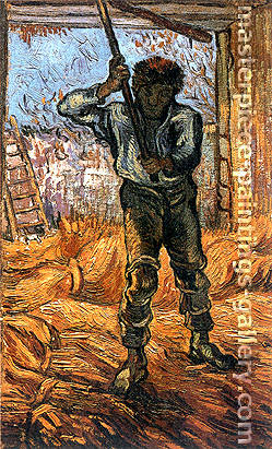 Vincent van Gogh, The Thresher (after Millet), 1889, oil on canvas, 17.3 x 10.8 in. / 44 x 27.5 cm, US$300