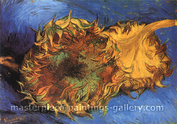 Two Cut Sunflowers - Blue, 1887, oil on canvas, 17 x 24 in. / 43.2 x 61 cm, US$280