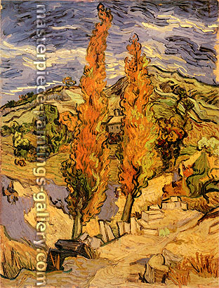 Vincent van Gogh, Two Poplars on a Road through the Hills, 1889, oil on canvas, 24 x 17.9 in. / 61 x 45.5, US$365