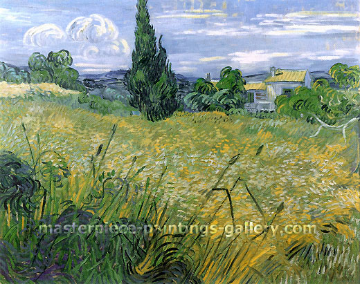 Vincent van Gogh, Green Wheat Field with Cypress (JH 1725), 1889, oil on canvas, 28.9 x 36.4 in. / 73.5 x 92.5 cm, US$560