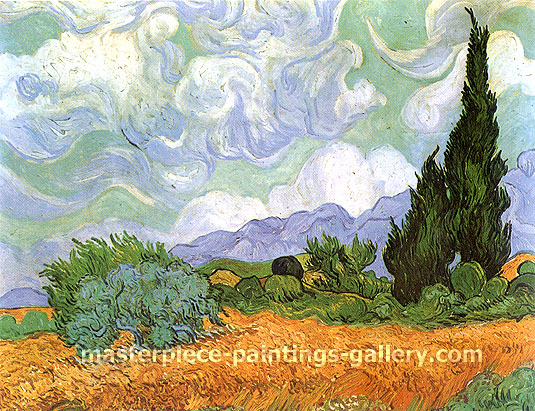 Vincent van Gogh, Wheat Field with Cypresses, 1889, oil on canvas, 28.5 x 36 in. / 72.5 x 91.5 cm, US$330