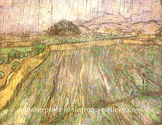 Vincent van Gogh, Wheat Field in Rain, 1889, oil on canvas, 28.9 x 36.4 in. / 73.5 x 92.5 cm, US$550