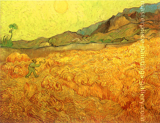 Vincent van Gogh, Wheat Fields with Reaper at Sunrise, 1889, oil on canvas, 28.7 x 36.2 in. / 73 x 92 cm, US$550
